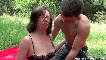 Womans hairy asshole Granny gets her asshole invaded outdoors