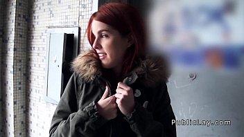 Spanish redhead amateen - Spanish redhead amateur in public flashing titties