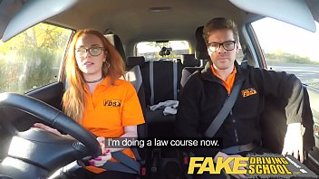 Fucking in a car Fake driving school nerdy ginger teen fucked to creampie orgasm