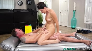 Erotic MILF India Summer riding big cock after nuru massage