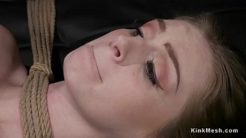 Spanked and whipped lesbian in gagging bondage slave