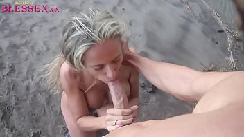 Busty blonde fucking on the beach