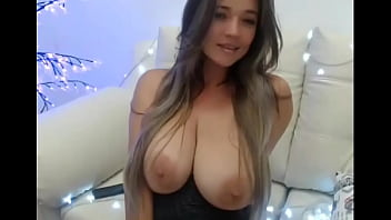 Hot Latina Brunette With Very Big Tits Plays With Pussy