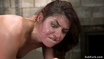 Kink bondage Bound brunette is rough anal fucked