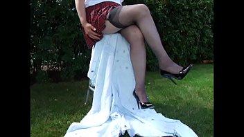Amateur garter belts stockings Black patent spikes outside