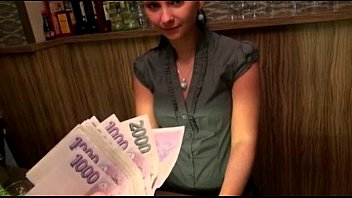 Cute amateur brunette Euro bartender Marie analyzed for cash Thumb