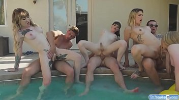 Shemale parties ny Trannies and guys have a pool party orgy