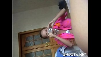 His knob is almost to big for her narrow teen pussy