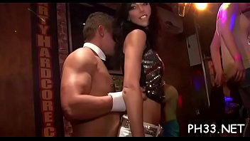 Blonde juvenile bitch swinging boobs fucked by black waiter doggystyle