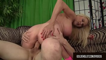 Busty Blonde Granny Sara Skippers Enjoys a Younger Cock