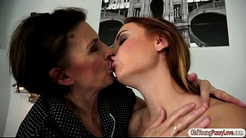 Russian redhead Eva Berger gets pussy n ass licked by granny