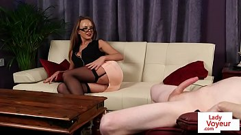 Busty CFNM MILF turned on during JOI