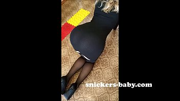 Black tight dress Hot teen sexy girl big ass stockings red panties Snickers baby