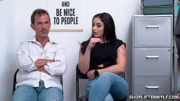 Hot MILF thief Sheena Ryder was caught on CCTV shoplifting at the mall. She begs for her freedom and got fucked by the police to set her free.