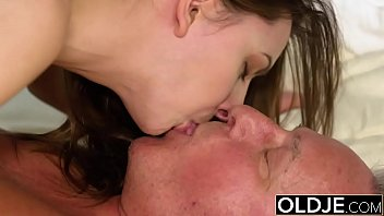 Young Girl Vs Old Man - Skinny Teen taking facial from fat grandpa Preview