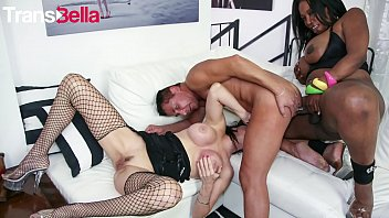 TRANS BELLA - #Jackeline Boing Boing - Kinky Husband Takes Anal In Hot 3some From Huge Tits Tranny