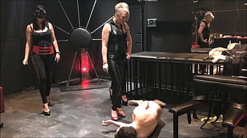 4 Mistresses (Arabella, Electra, Islya and Noir) kick Andrea Dipre in the balls