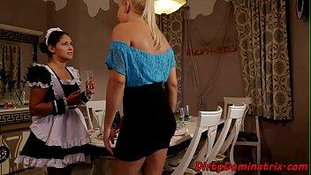 Eurobabe dominates teen housemaid
