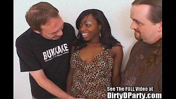 Bukkake and cum eating - 18yo cute black slut banged