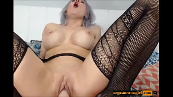 Silver hairy - Silver haired hottie with big round jugs toys - watch more on orgasmcamsgirl.com
