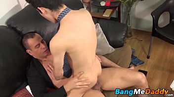 Young guy gets his mouth and ass full of hard mature cock