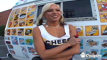 Cheerleader nudist gallery Cheerleader kacey jordan wraps her big meaty pussy lips around the ice cream mans ding dong