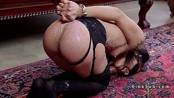 Petite and busty slave banged hard