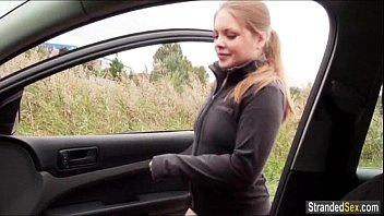 Teen Alessandra Jane sucks a cock for a free ride home