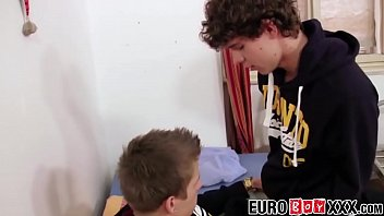 Julian gay Young college cuties toying and barebacking at dorm room
