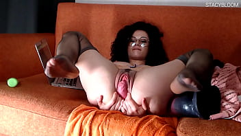 Sexy Girl Fucks Herself With Huge Sex Toy Until Lover Comes Home