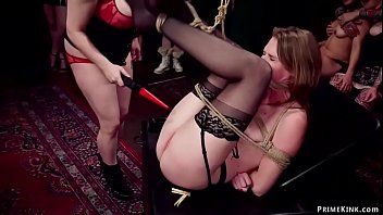 Busty domme makes slaves bdsm fuck