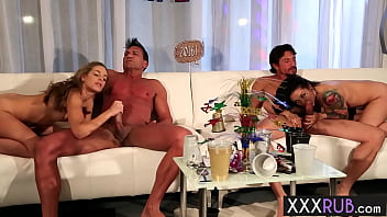 Sexy MILFs enjoyed hardcore sex action with two perverted big cock friends 6分钟