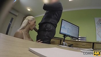 pervert guy uses money to fuck a busty blonde