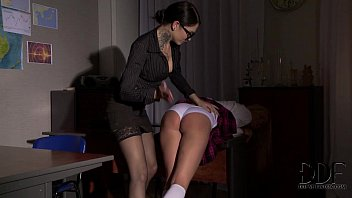 Schoolgirl Gets Her Ass Crammed With A Strap-On By Teacher