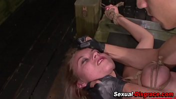 Bound slave gets facial