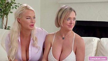 Lesbian milfs licks busty blonde teacher