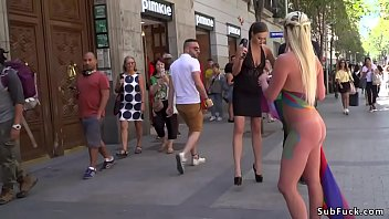 Fist street - Huge tits painted blonde caned in public