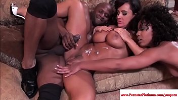 Lisa Ann and Misty Stone interacial threesome lesbian creampie and milf