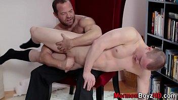 Gay spank cum Uniform elder spews cock