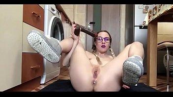 glasses slut ella destroys her butthole anal fuck style analcams.com