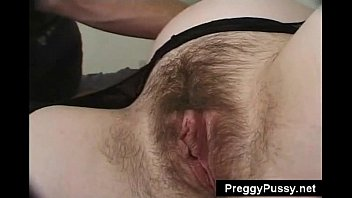 Very hairy pregnant pussy blonde in sexy lingerie