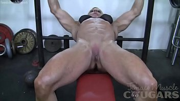 Anal body builders - Female bodybuilder lacey works out and masturbates