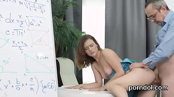 Sultry college girl was seduced and poked by older teacher