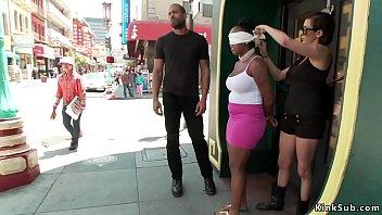 Busty blindfolded ebony public fucked