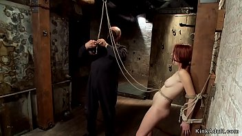 Redhead in hogtie suspension is vibed