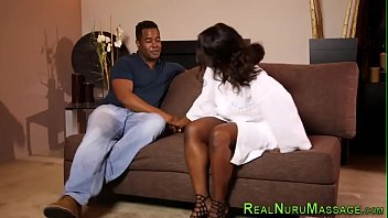 Ebony masseuse rammed
