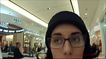 Sexy sportswoman - Public cum walk at the mall