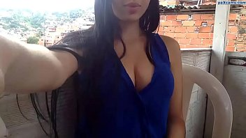 Latina teen Michelle shows her beautiful cleavage on webcam