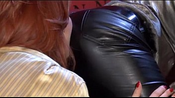 Latex ass pants - Hot lesbians in leather pants...