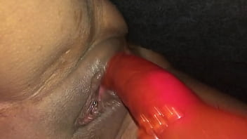 POV Closeup Filming on my iPhone - Watching My Girlfriend a Dirty British Milf, Ramming a Big Red Dildo Hard and Fast in Her Squirting Wet Pussy